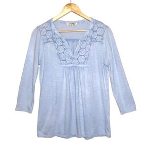 Lucky Brand Eyelet Lace Bib Blue Peasant Shirt